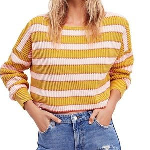 Free People Just My Stripe Cropped Sweater - NWOT